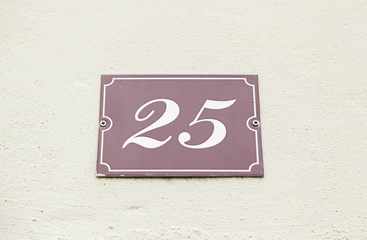 Number twenty in a wall of a house