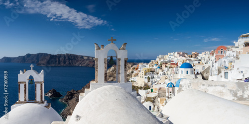 canvas print picture Panorama Oia auf Santorin