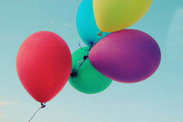 close up of colorful balloons