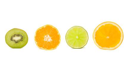 Kiwi, tangerine, lime and orange. Isolated on white.