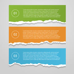 Vector Set  of lacerated color sheets with numbers,infographic