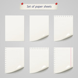 Vector set of  paper sheet ,texture notebook sheets isolated - 72161594