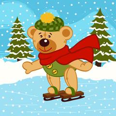 teddy bear on ice skates - vector illustration, eps