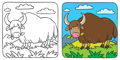 Funny wild yak coloring book