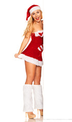 Santa Claus girl behind white board