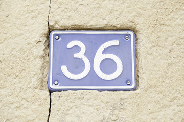 Number thirty-six on a wall