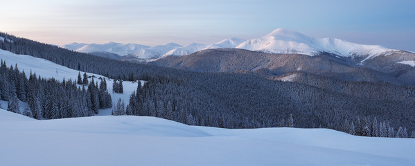 Winter panorama of mountains