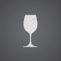 wineglass sketch logo doodle icon.