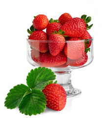 glass bowl with fresh strawberries isolated on white background
