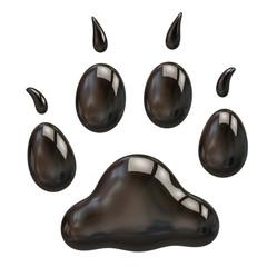Black paw isolated on white background