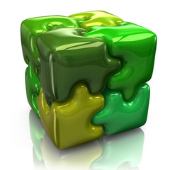 Illustration of green puzzle cube