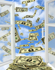 dollars flying out from opened window to the heaven