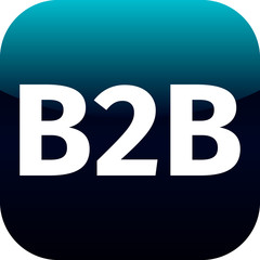 b2b blue computer icon on white background