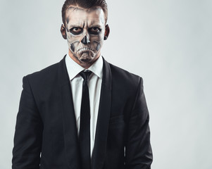 portrait evil  businessman makeup skeleton