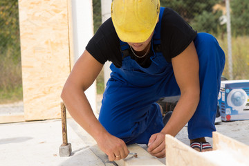 Builder working on a construction site