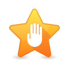 Isolated star icon with a hand