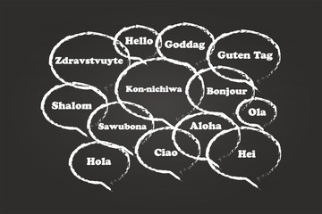 Hello Bubbles In Different Languages On Blackboard