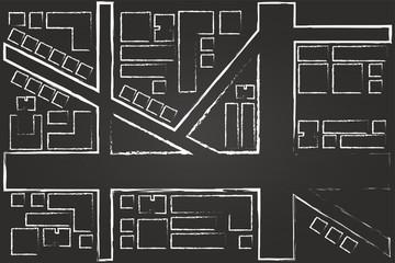 Regional City Map Drawing On Blackboard