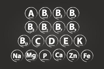 Essential Vitamins And Minerals On Blackboard