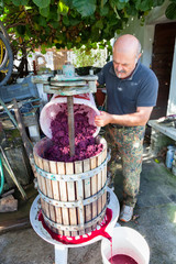 man making red wine with classic press