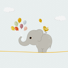 Cute elephant with colorful balloons and bird