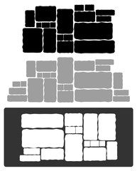 stone wall composition, variation,vector illustration