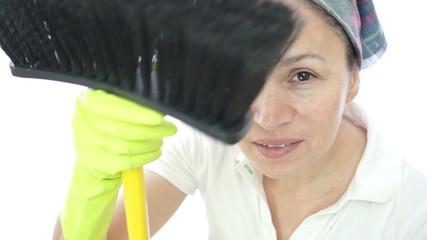 Woman Housework Brush Camera