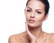 Beautiful Young Woman Touching Her Face.Fresh Healthy Skin.