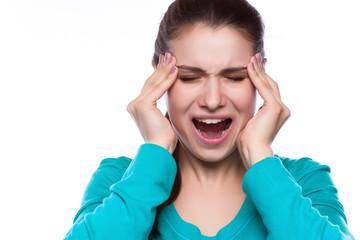 Headache. Woman having Headache. Sick. Flu