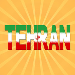 Tehran flag text with sunburst illustration