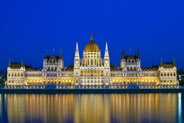 The hungarian Parliament in Budapest at evening, Hungary, Europe