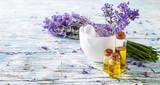 Fototapety Fresh lavender on wood