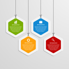 Abstract color hexagon infographics template.