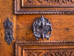 Medieval antique door-handle and key hole