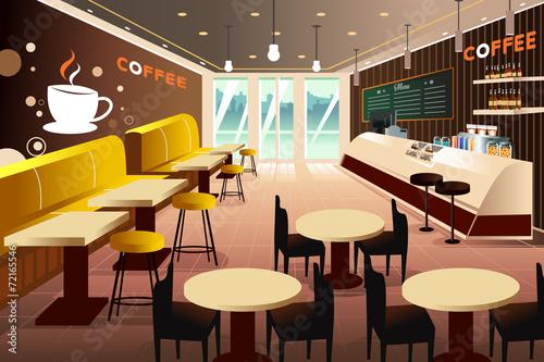 Interior of a modern coffee shop - 72165546