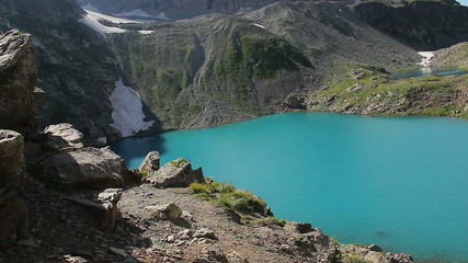 Breathtaking mountain lake landscape, natural wonder, steadicam