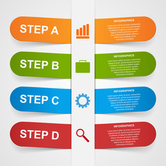Vector abstract 3d paper sticker infographic.