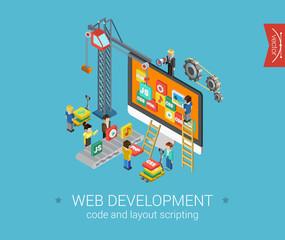 Flat 3d isometric design concept vector web infographic
