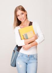 Blond student beauty.