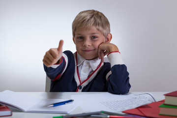 Little student with okay gesture