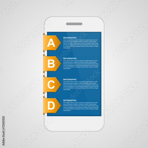 Modern design creative sticker infographic with mobile phone. - 72165920