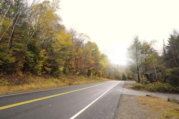 Autumn road in Vermont, United States.