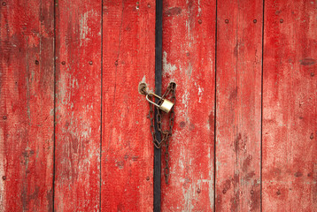 Red closed wood door