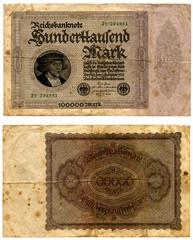 billete de 100.000 marcos alemanes antiguo