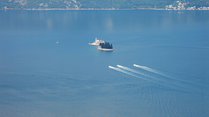 Race speed boats in the Adriatic sea. Kotor.