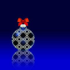 Blue Christmas ball red bow