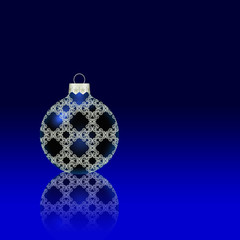 Blue Christmas ball with reflection