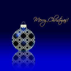 Christmas ball with reflection on blue