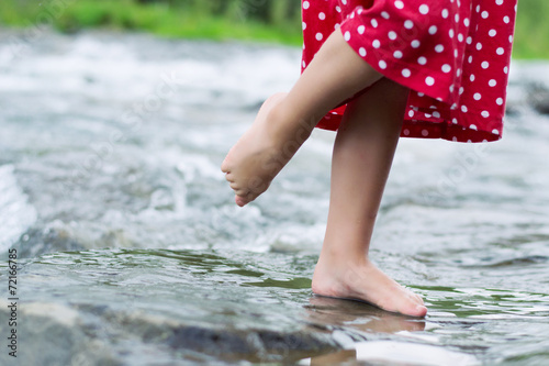 canvas print picture Little girl in the brook