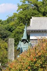 熊本城 加藤清正像がある風景